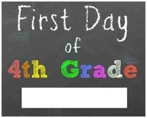 First Day of 4th Grade Chalkboard Printable Sign