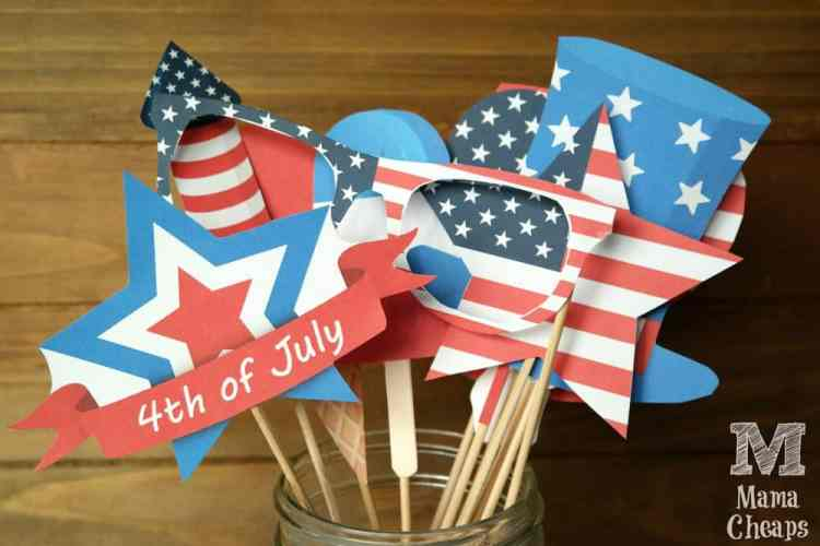 4th of july photo booth props free printables mama cheaps july 4th photo props solutioingenieria Images