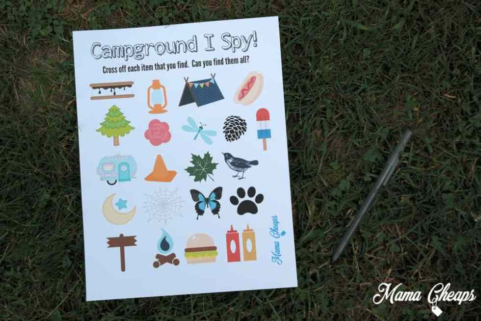 Campground I Spy Printable