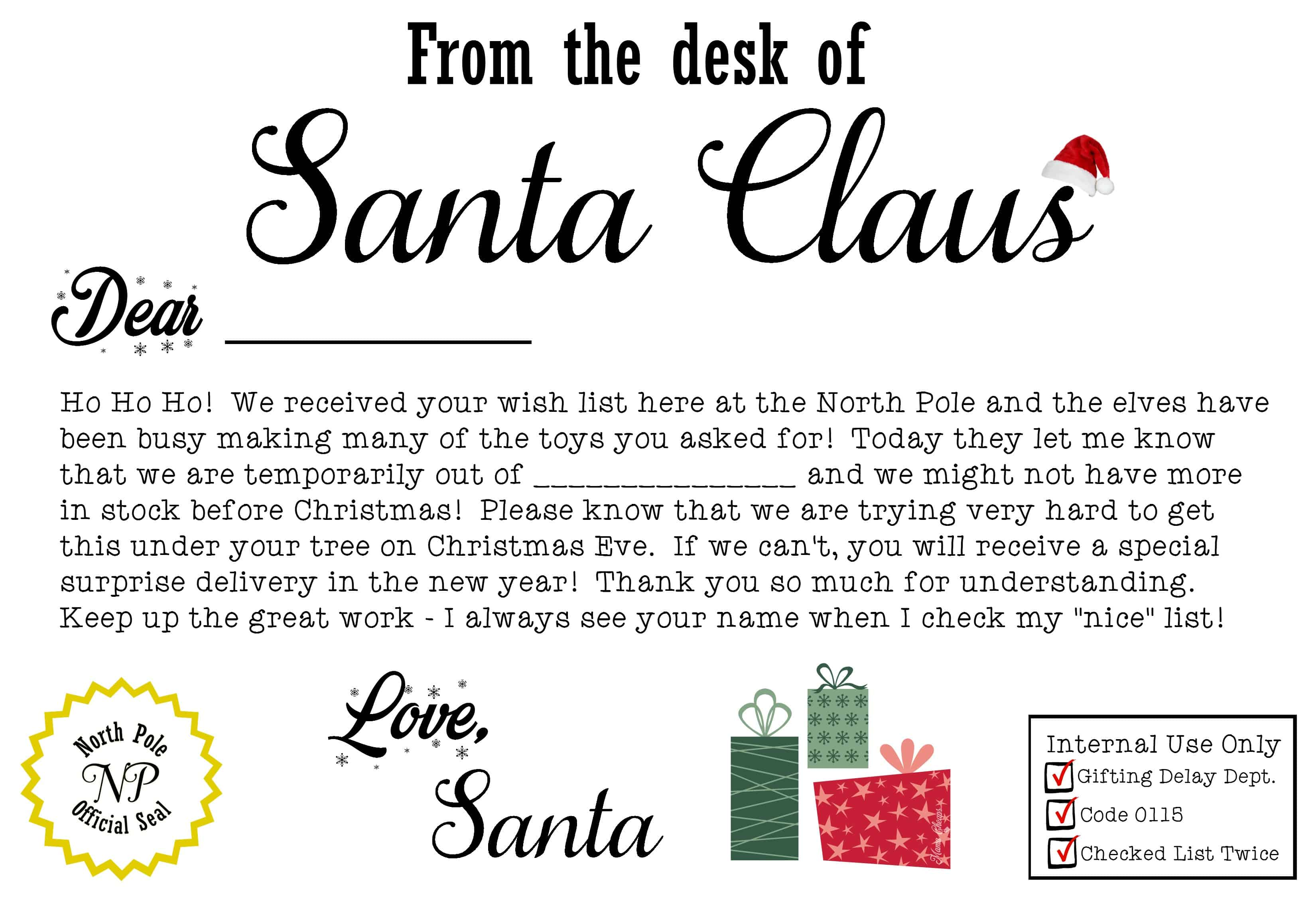 Dramatic image within printable santa letters
