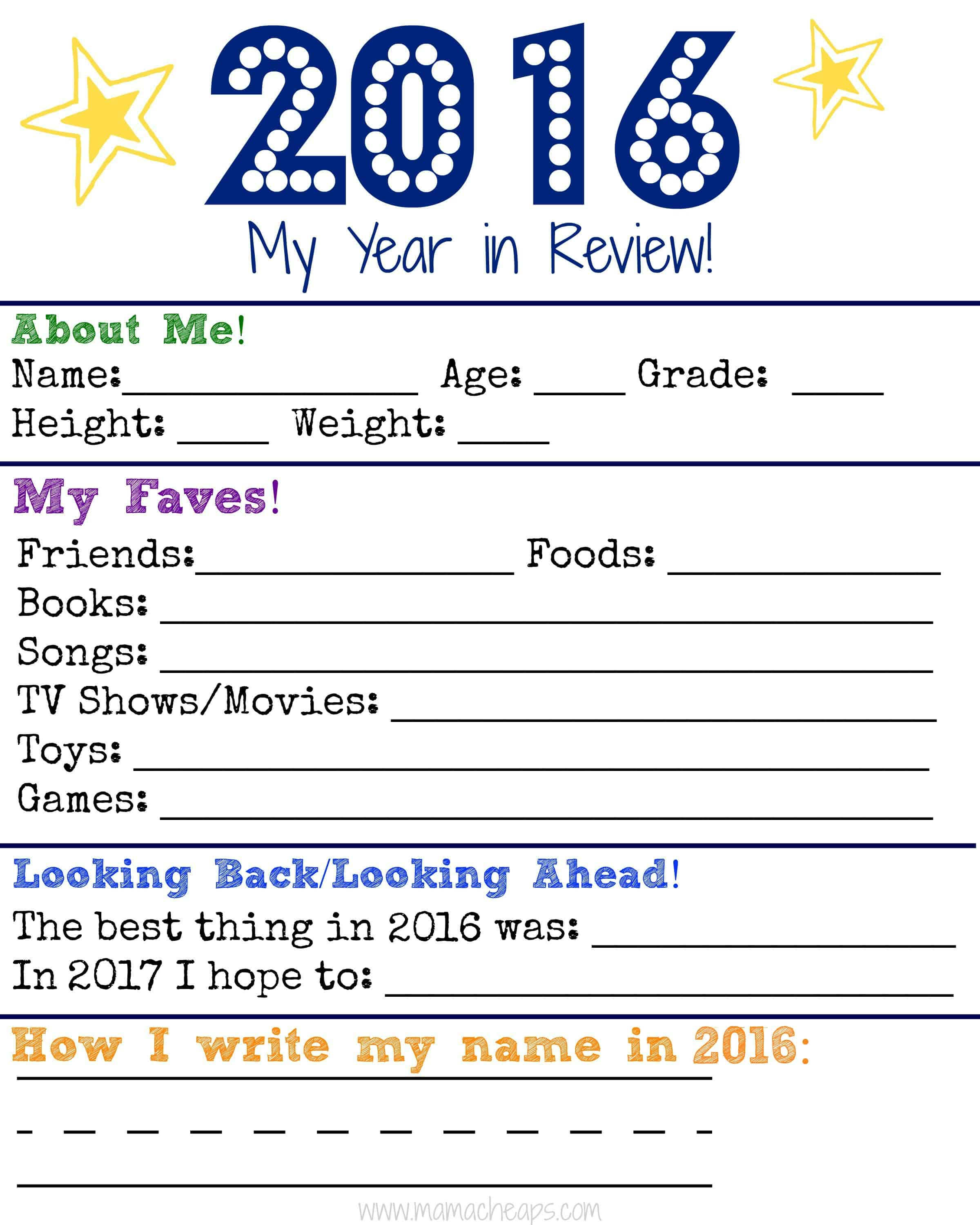 Family Time Capsule Jars For New Year S Free Printable Kid Survey