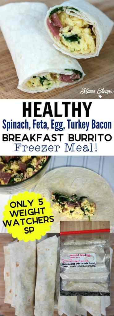 Healthy Spinach Feta Egg Turkey Bacon Breakfast Burrito WWSP