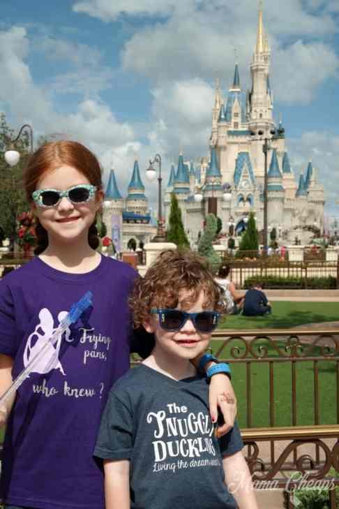 Kids in Front of Disney Castle
