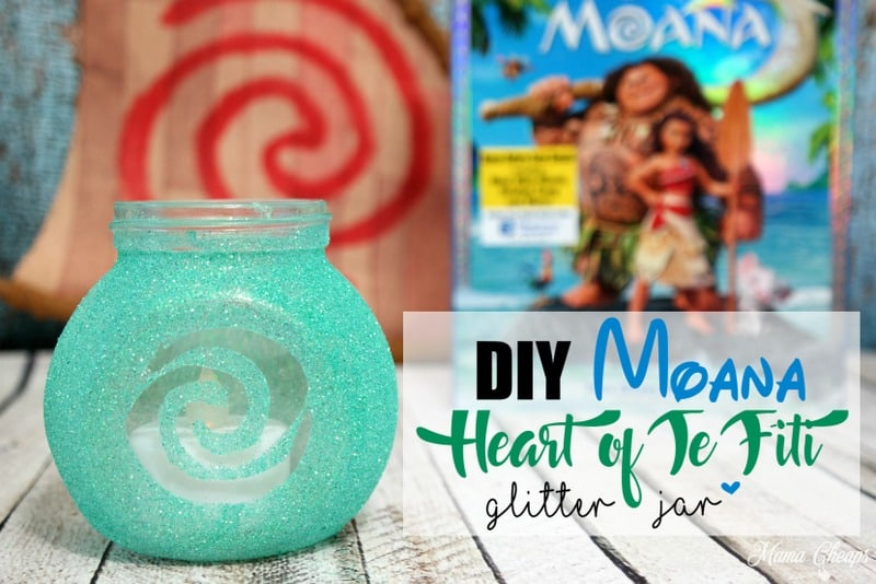 Easy DIY home decor projects, craft #1, Moana Heart of Te Fiti Glitter Jar | tutorial from Mama Cheaps
