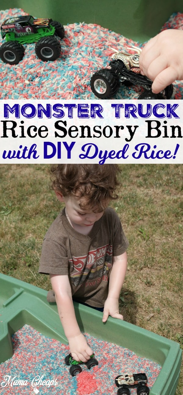 Monster Truck Rice Sensory Bin Play