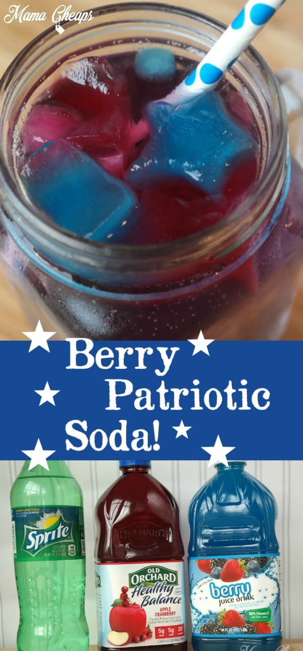 Berry Patriotic Soda with Star Ice Cubes