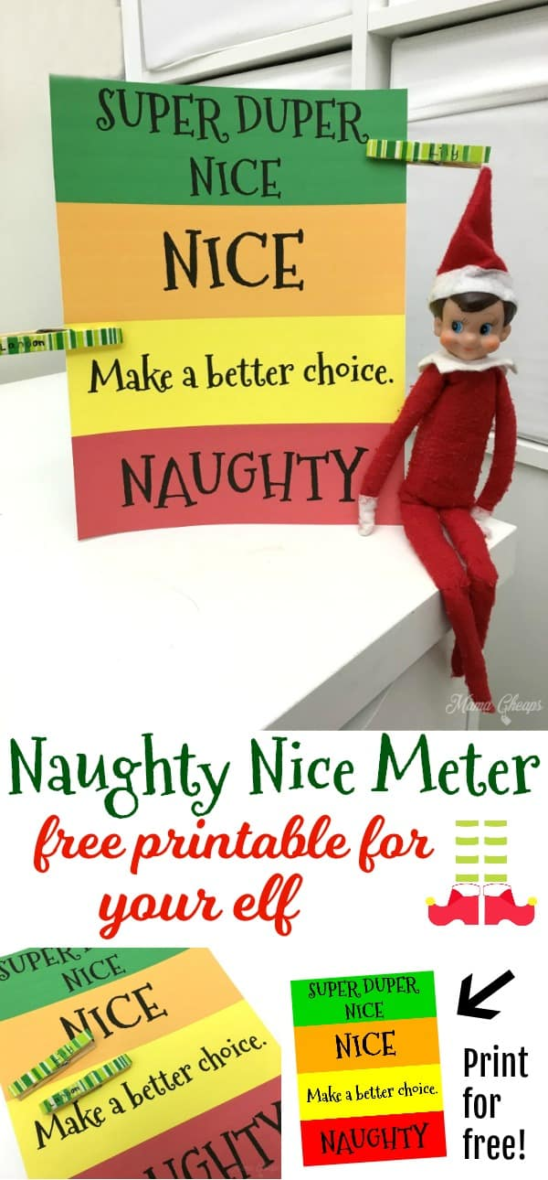 Naughty Nice Meter for Elf Free Printable
