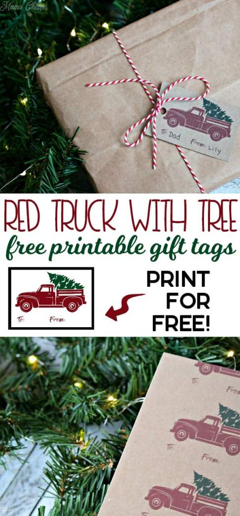 Red Truck with Tree free printable gift tags