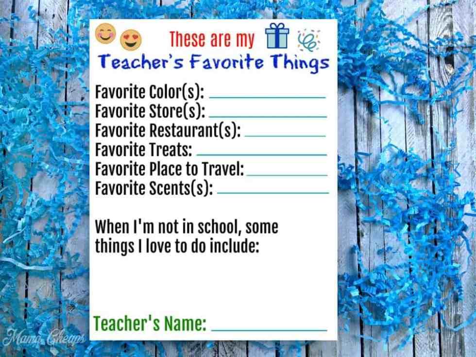 Teacher's Favorite Things Printable Survey