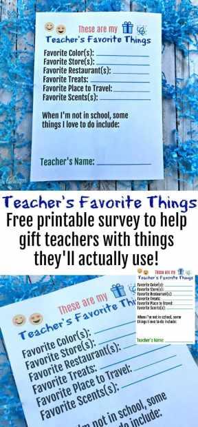 Teachers Favorite Things Printable Survey