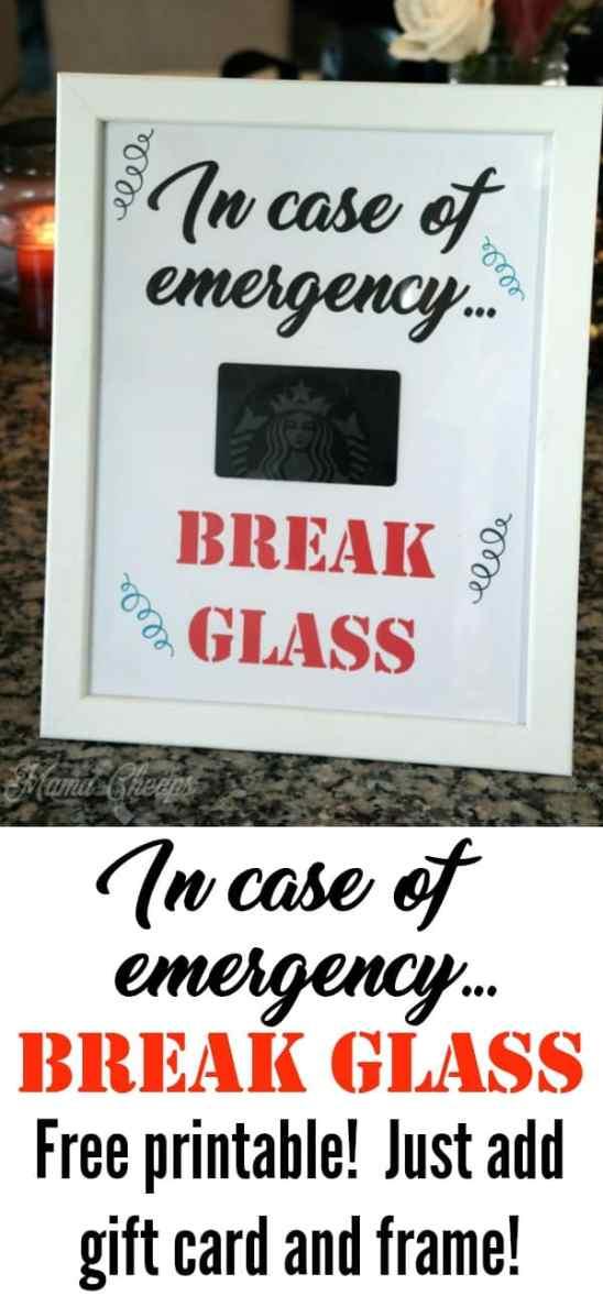In Case of Emergency Break Glass Printable Sign