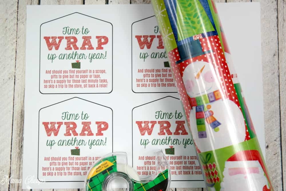 Wrapping paper tape easy last minute gift idea tag mama cheaps wrap up another year gift supplies solutioingenieria Images