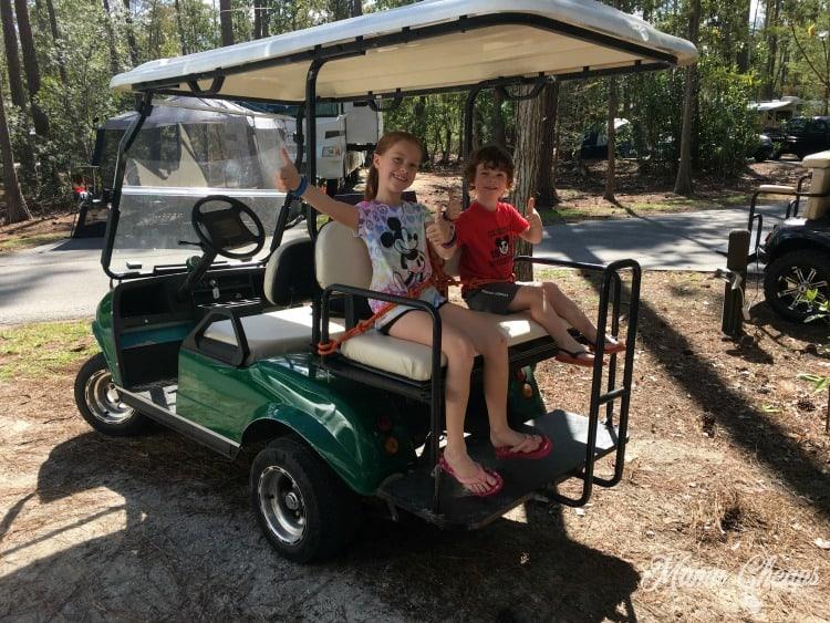 Kids in Golf Cart Disney World