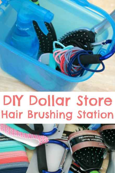 DIY Dollar Store Hair Brushing Station