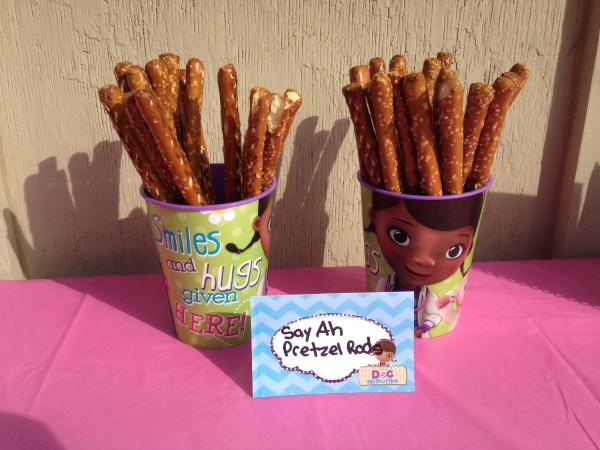 Doc McStuffins Party: Say Ah Pretzel Rods
