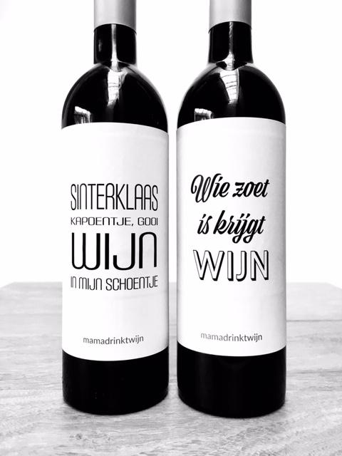 Sinterklaas Wijnetiketten van Mama Drinkt Wijn, ideaal Sinterklaas cadeau voor de wijnliefhebber