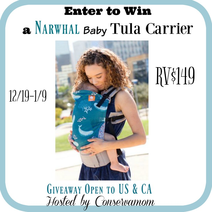 Win a Tula baby carrier in Narwhal! Wearing your baby is such a great way to bond and care for your baby! And the narwhal print is a super cute and fun print! Open 12/19/16-1/9/17; USA & CA)