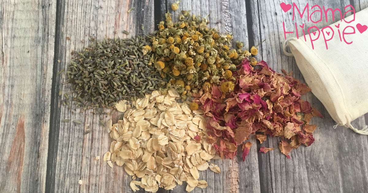 Sooth baby skin and calm down toddlers with this easy recipe for baby bath herbs. Works well for tired mamas too!