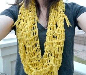 Crochet Lace Infinity Scarf - Yellow