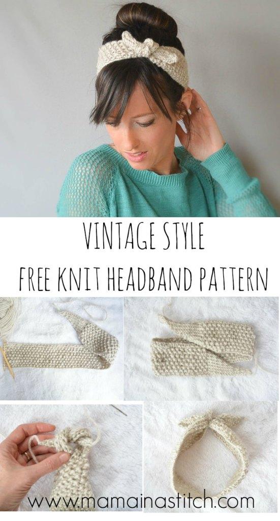 Vintage Knit Headband Free Pattern