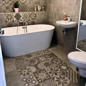 Carrelage patchwork Codicer SIGNUM Grey - imitation carreaux de ciment - Réalisation salle de bain