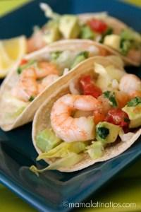 shrimp tacos with guacamole