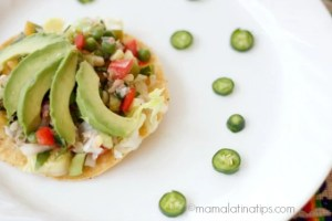 Mexican Tuna Salad on top of a tostada