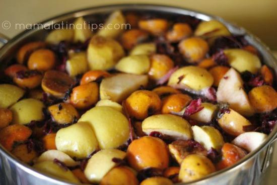 ponche con la fruta cruda