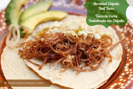 Shredded beef tacos deshebrada