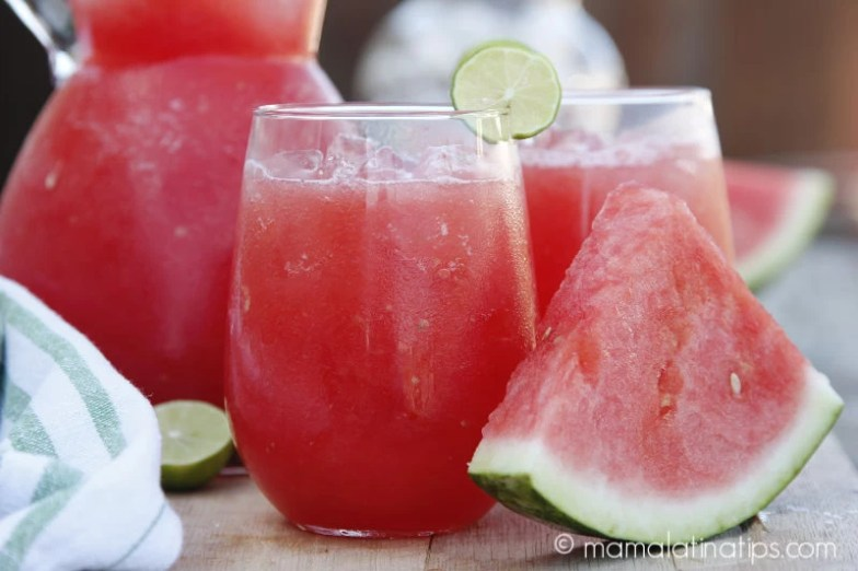 glass of watermelon cooler or watermelon agua fresca