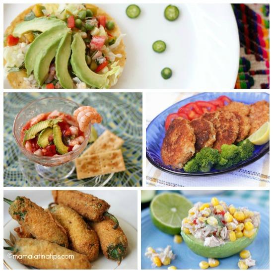 un collage de cinco fotos con recetas de atún, camarones y vegetarianas
