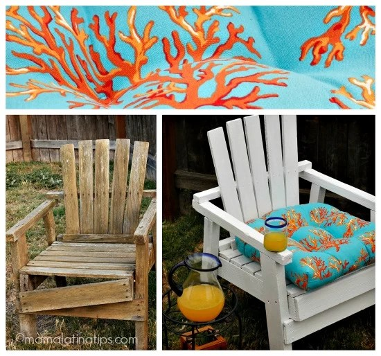 White chair with coral pillow - mamalatinatips.com