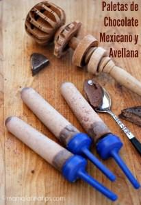 Paletas de chocolate mexicano y avellana