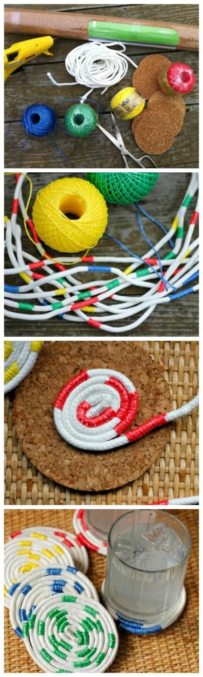 Un collage con el proceso para hacer portavasos de cuerda