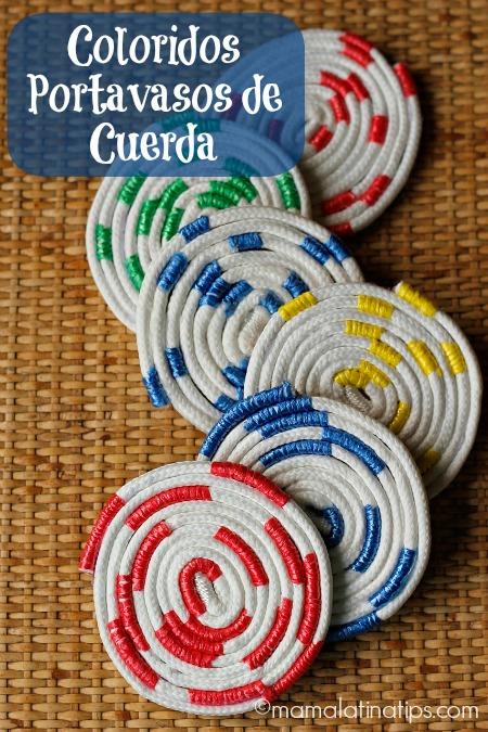 Como Hacer Coloridos Portavasos de Cuerda