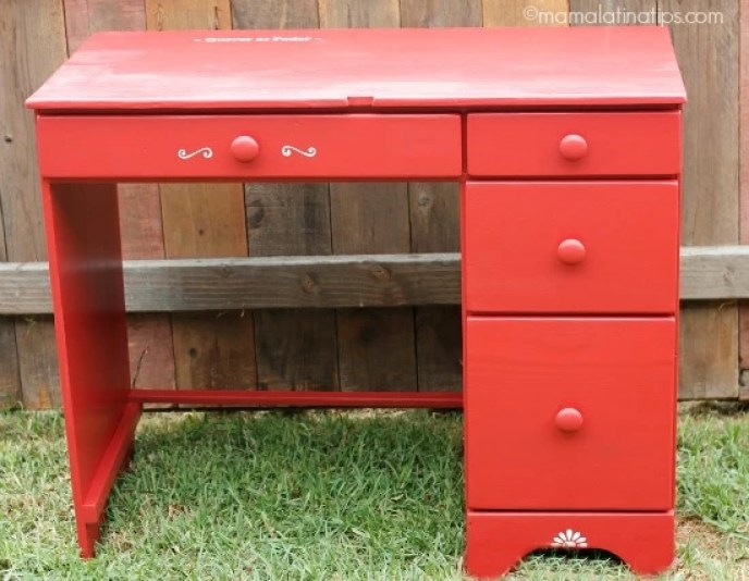 Red desk after painting