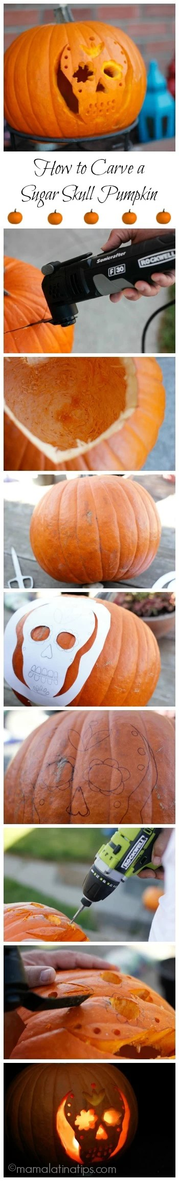 how to carve a sugar skull pumpkin mama latina tips