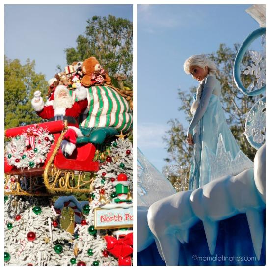 Santa Claus and Elsa in the Christmas Fantasy Parade at Disneyland
