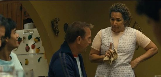 Scene of McFarland USA with Kevin Costner and Mrs. Díaz