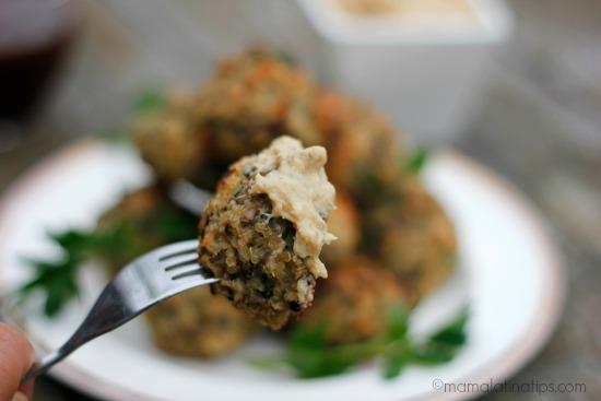 quinoa and crimini mushroom balls with dip