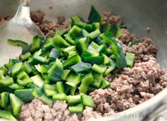 Beef and poblano peppers