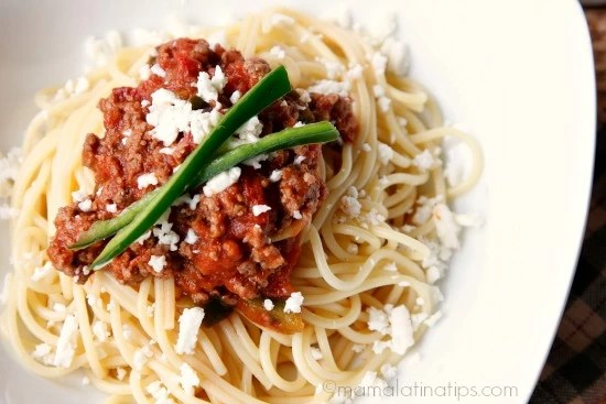 Chipotle spaghetti with ground beef and cotija cheese