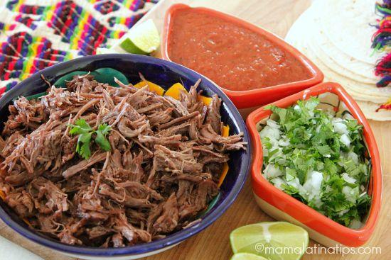 Beef Barbacoa in a Mexican bowl, with cilantro y salsa