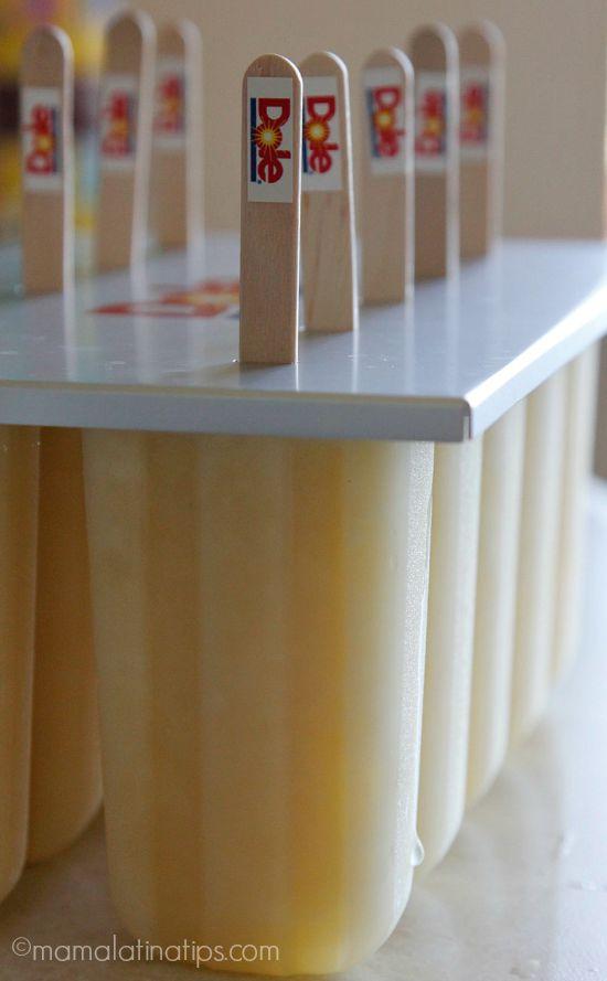Pineapple-ginger popsicles in molds