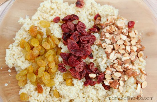 quinoa, raisins, cranberries and almonds