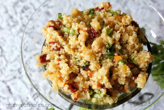 Sweet and sour quinoa salad by mamalatinatips.com