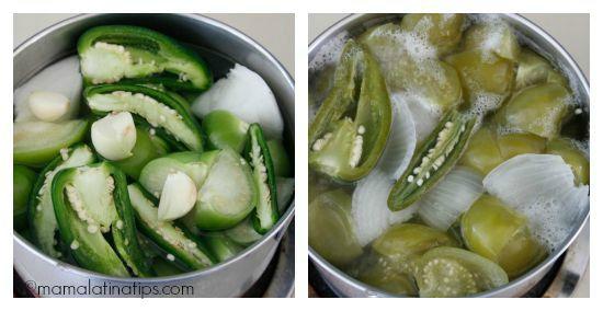 Tomatillos, serrano chiles and onions