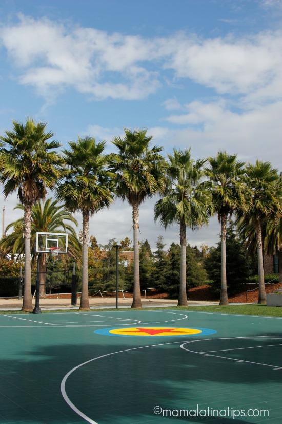 Pixar baseball court and trees