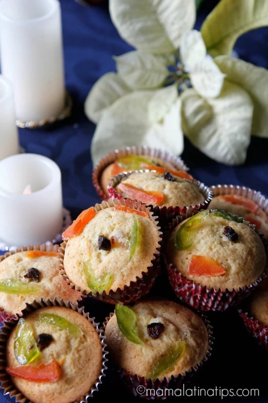 Three Kings Day Cupcakes with Candied Fruit - mamalatinatips.com