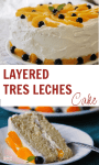 layered tres leches cake with peaches